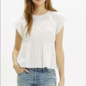 NWT Madewell white mixed lace top blouse 10